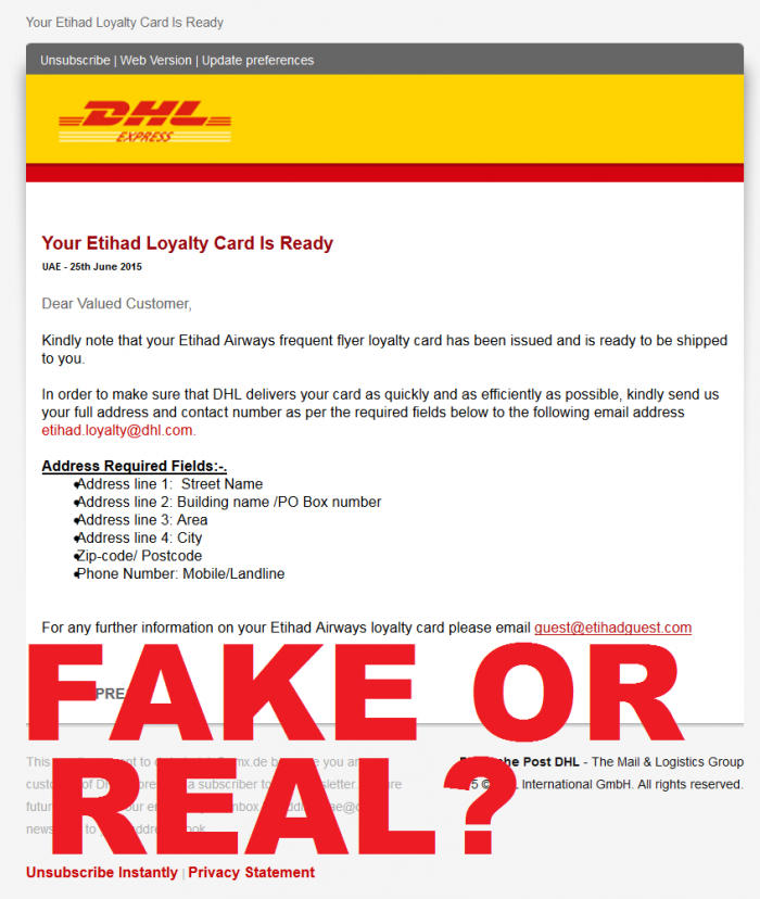 Etihad Guest New Card Email Fake Or Real
