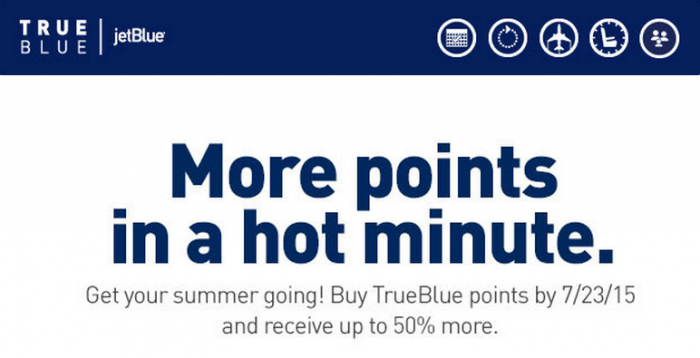 JetBlue TrueBlue Buy Points Up To 50 Percent Bonus Until July 23 2015