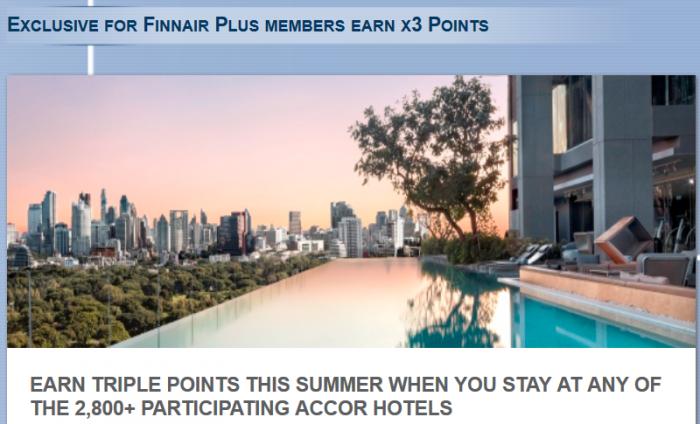 Le Club Accorhotels Finnair Plus Triple Points June 1 August 31 2015