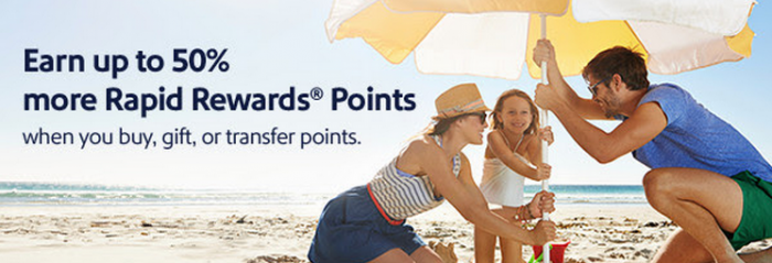 Southwest Airlines Rapid Rewards Buy & Gift Points Up To 50 Percent Bonus June 23 July 25 2015