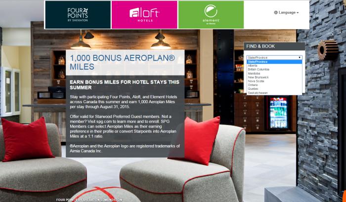Starwood Preferred Guest SPG Aloft Four Points Element 1,000 Bonus Aeroplan Miles June 1 August 31 2015