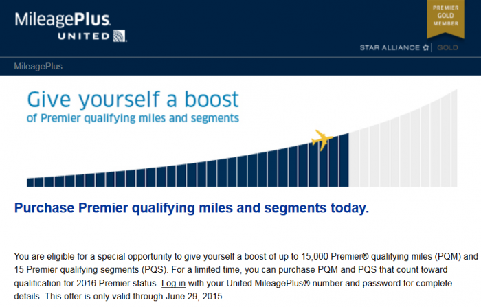United Airlines Premier Qualifying Miles Segments Sale