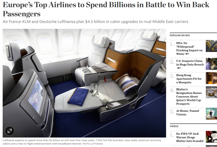 WSJ Europe's Top Airlines to Spend Billions in Battle to Win Back Passengers