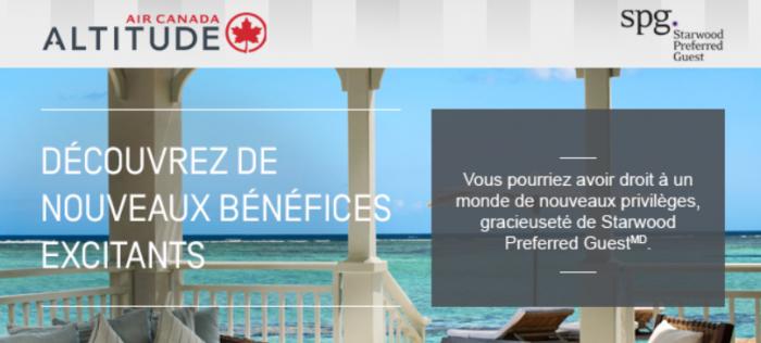 Air Canada Altitude SPG Benefits