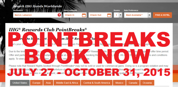 BOOK NOW IHG Rewards Club PointBreaks July 27 – October 31, 2015