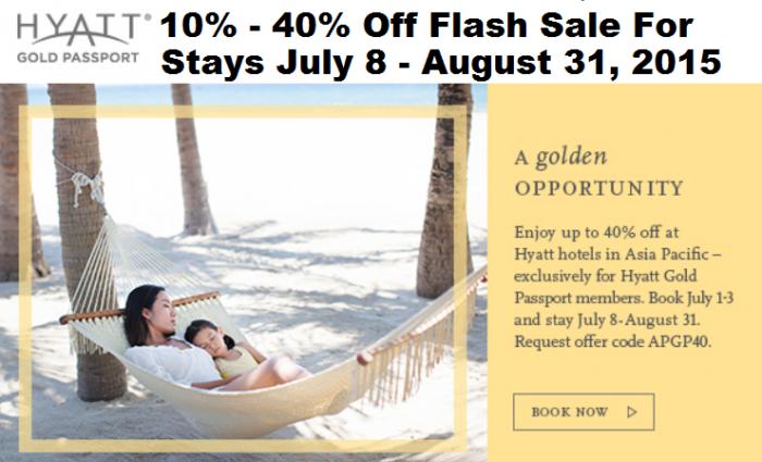 Hyatt Gold Passport Up To 40 Percent Off July 8 August 31 2015