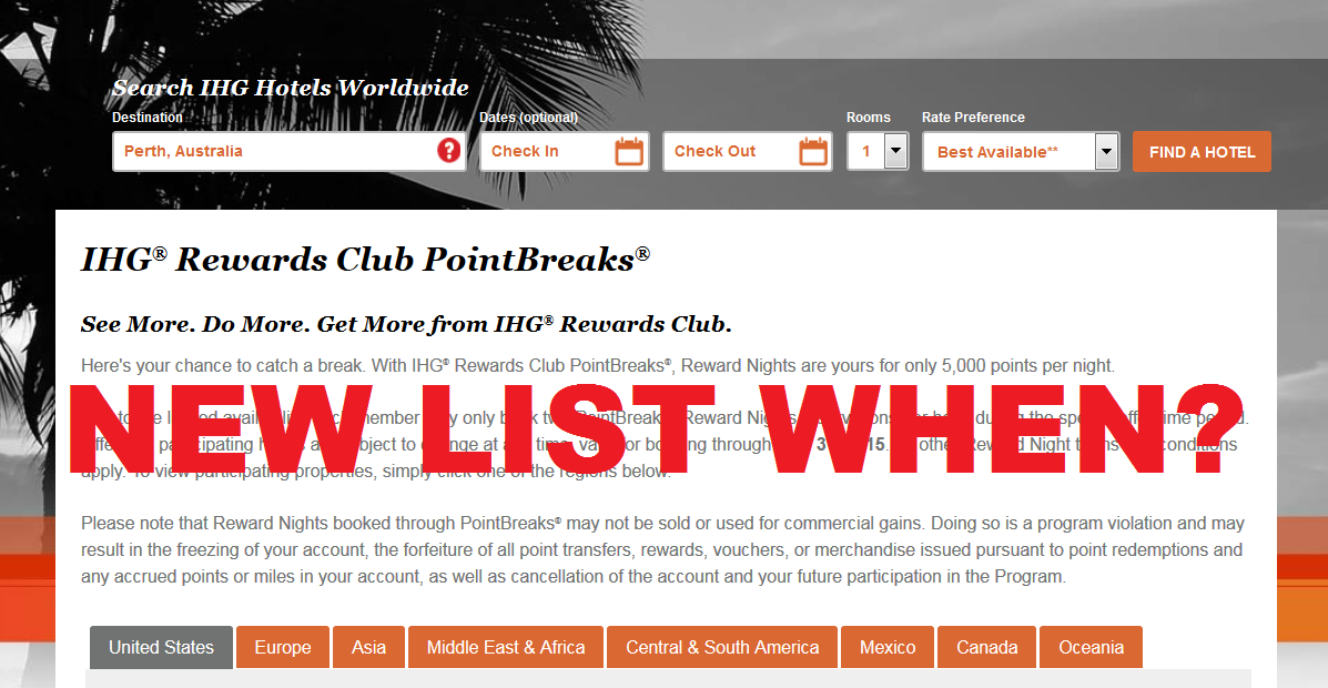 When new ihg rewards club pointbreaks are released loyaltylobby
