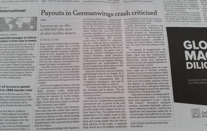 NYT Germanwings Compensation