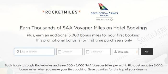 Rocketmiles South African Airways 3,000 Bonus Miles September 30 2015