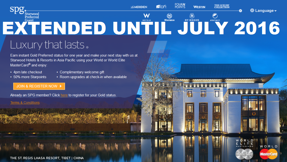 Extended Spg Gold Status After One Stay In Asia For World Elite Mastercard Holders Offer Valid Until July 12 2016 Loyaltylobby