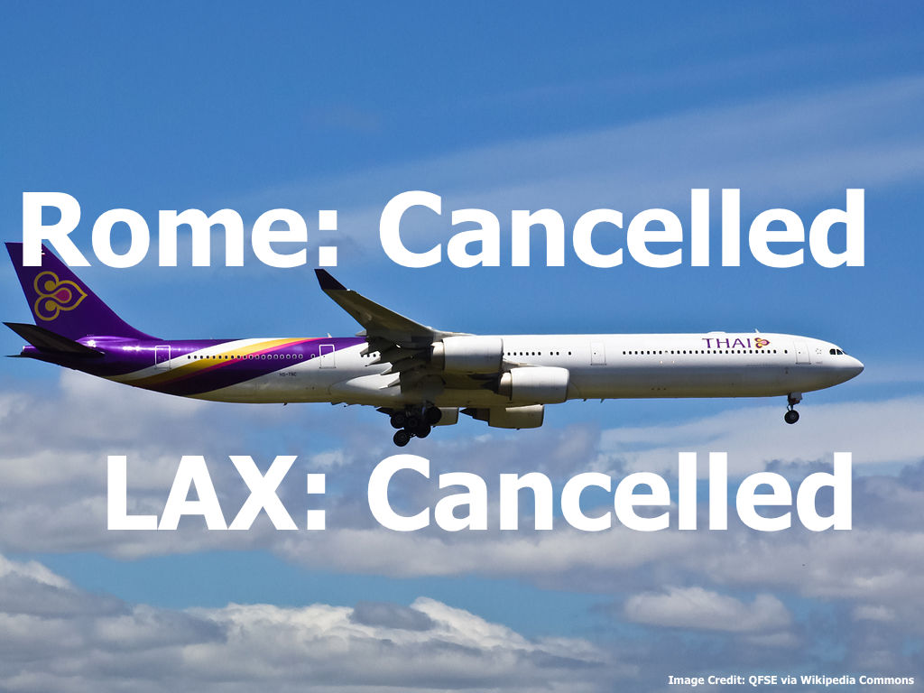 thai airways to cancel flights to los angeles rome from. Black Bedroom Furniture Sets. Home Design Ideas