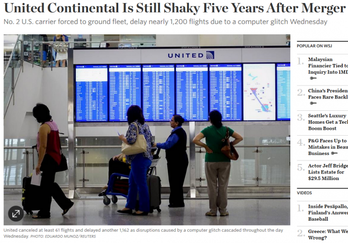 WSJ United Continental Is Still Shaky Five Years After Merger