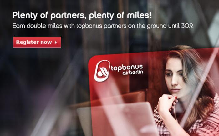 Airberlin Topbonus Double Miles Offer August 21 September 30 2015