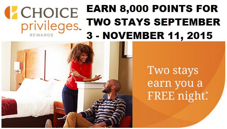 Choice Privileges Earn Free Night 8 000 Points After Two Stays September 3 November 11 2017 Loyaltylobby