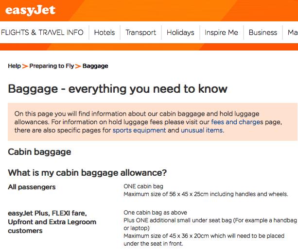 Ezy Baggage Regulations