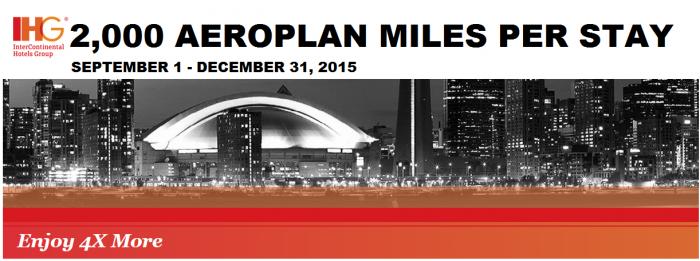 IHG Rewards Club Aeroplan 2,000 Miles Per Stay September 1 - December 31 2015