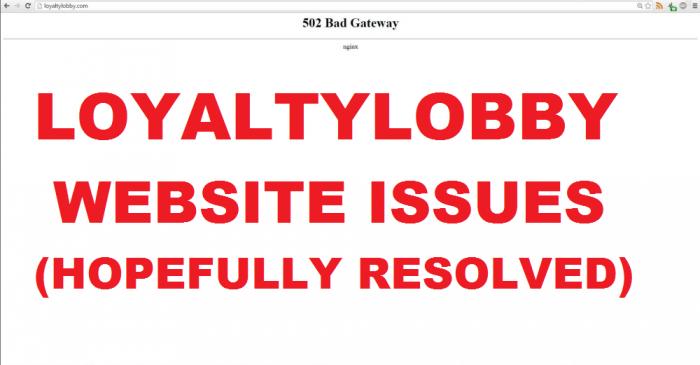 LoyaltyLobby Website Issues