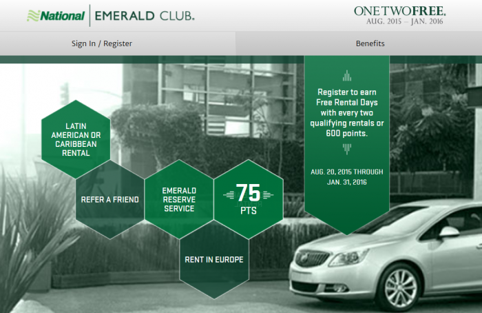 National Car Rental OneTwoFree August 20 January 31 2016