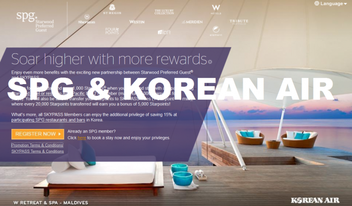 Starwood Preferred Guest SPG Korean Air SKYPASS Partnership Launched