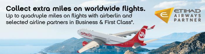 Airberlin Topbonus Triple Quadruple Miles Etihad Airways Partners September 25 - December 15 2015