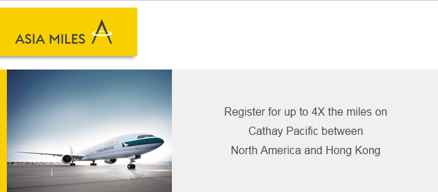 Cathay Pacific AsiaMiles Up To Quadruple Miles September 15 November 30 2015