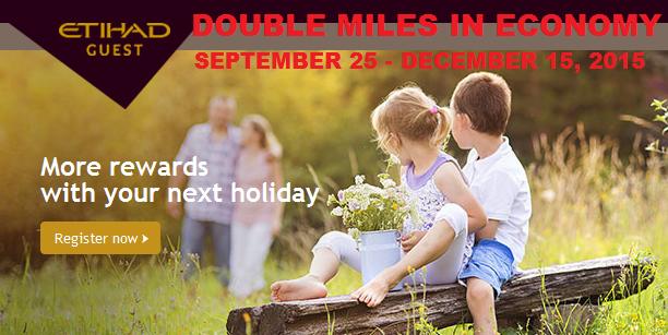 Etihad Airways Double Guest Miles Economy September 17 December 15 2015