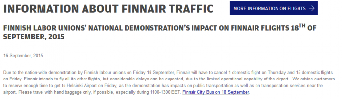 Finnair Strike Friday September 18 2015