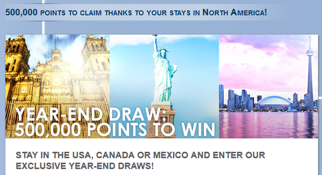 Le Club Accorhotels 500,000 Points Sweepstakes In United States, Canada & Mexico September 24 – December 31, 2015
