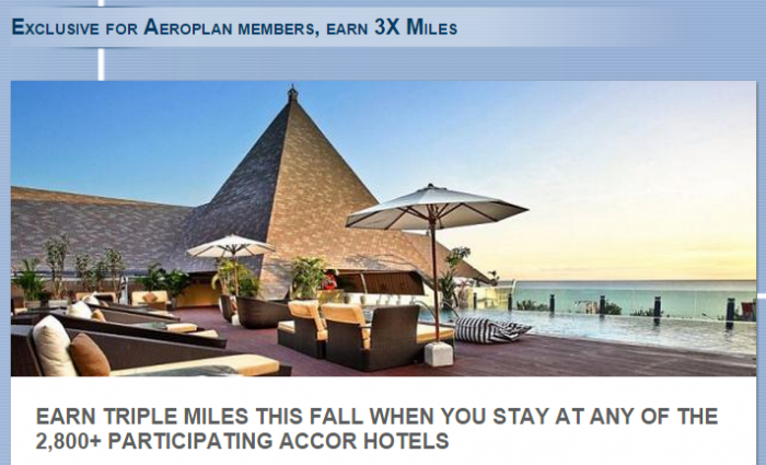 Le Club Accorhotels Air Canada Aeroplan Triple Miles September 1 December 31 2015 Book By October 31