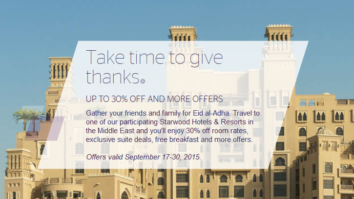SPG Middle East Up To 30% off Eid al-Adha Sale For Stays
