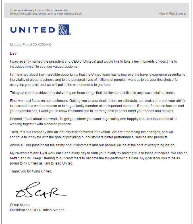 Email From New United Airlines CEO Oscar Munoz | LoyaltyLobby