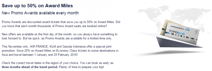 Air France-KLM Flying Blue Promo Awards November 2015