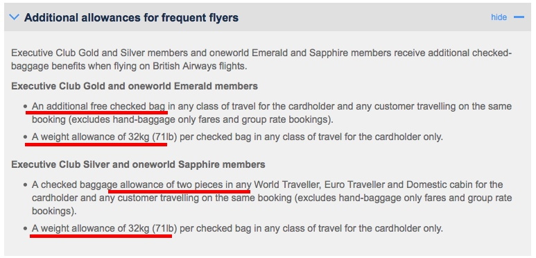 British Airways Careful With The Online Display Of Your Baggage Allowance (Could Be Incorrect ...
