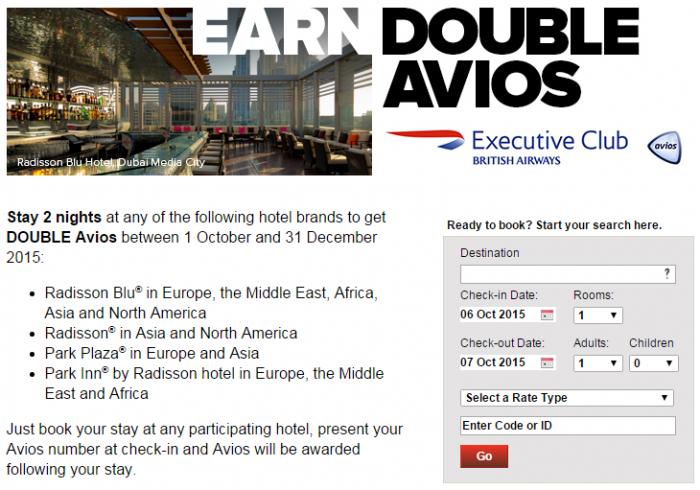 Club Carlson British Airways Executive Club Double Avios October 1 December 31 2015