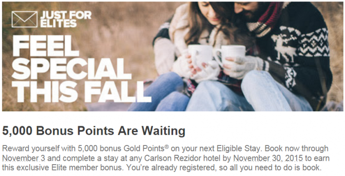 Club Carlson Targeted 5,000 Bonus Points October 21 - November 30 2015