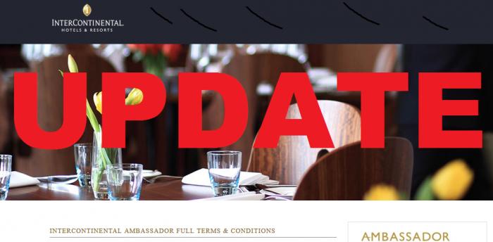 IHG Rewards Club Ambassador Terms & Conditions Update October 12 2015