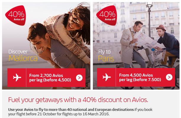 Iberia Plus Avios 40 Percent Award Discount Band 1 & 2
