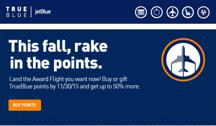 JetBlue TrueBlue Buy Points Fall 2015 Campaign