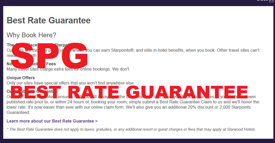Reminder Spg Best Rate Guarantee Possible When No Availability On Loyaltylobby