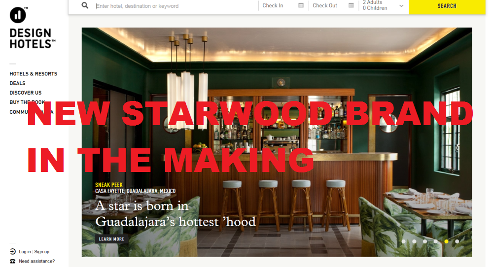 Starwood to introduce 11th brand with design hotels for Design hotel spg