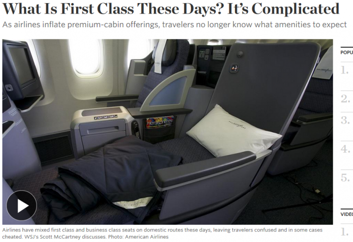 WSJ What Is First Class These Days It's Complicated.