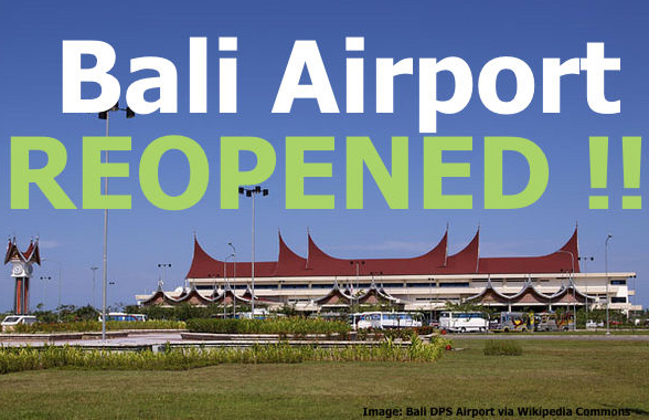 Bali denpasar airport re opened after ash cloud moves away from the