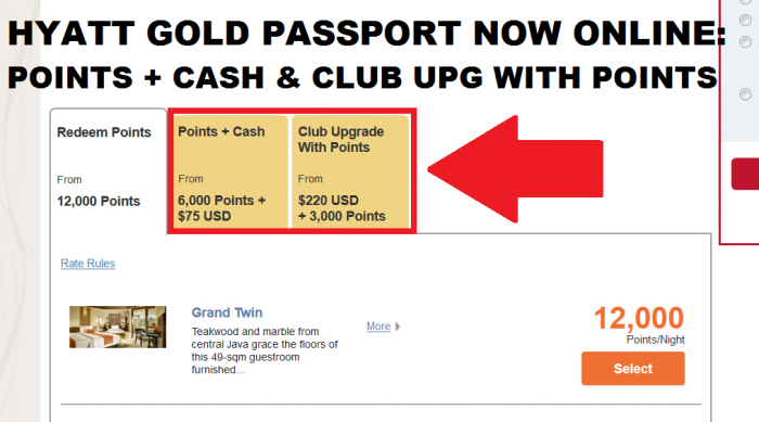 hyatt gold passport points cash club upgrade with points now available for booking online. Black Bedroom Furniture Sets. Home Design Ideas