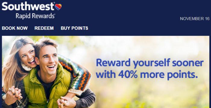 Southwest Airlines Buy Gift Rapid Rewards Points November 2015 Promo
