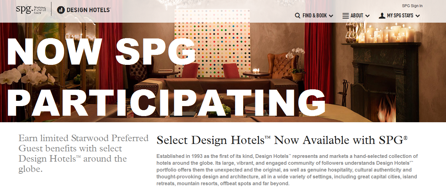 Select design hotels now spg participating loyaltylobby for Design hotel spg