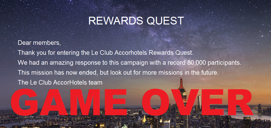 Game Over Le Club Accorhotels Rewards Quest Game