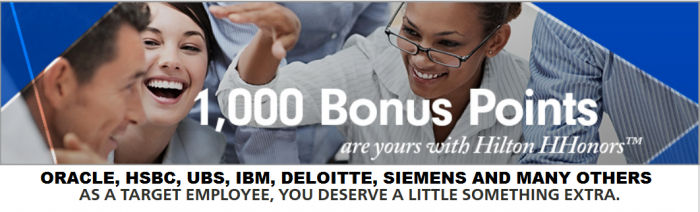 Hilton HHonors 1,000 Bonus Points Per Night Select Corporate Travelers January 15 – April 30, 2016 (Many Companies Qualify)