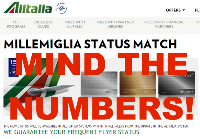 Alitalia Status Match  Membership Number On Card Might Not