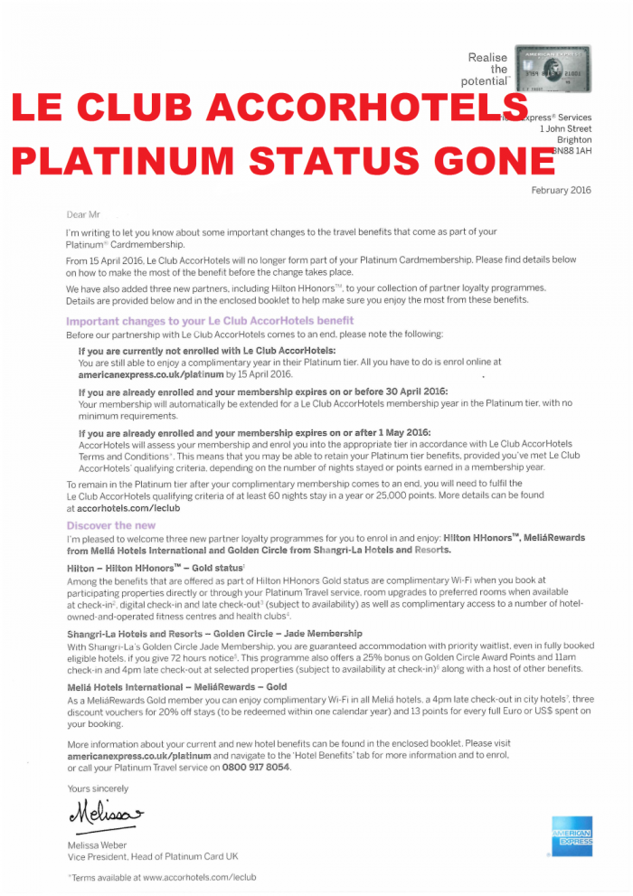 Le Club Accorhotels Complimentary Platinum Gone From Amex