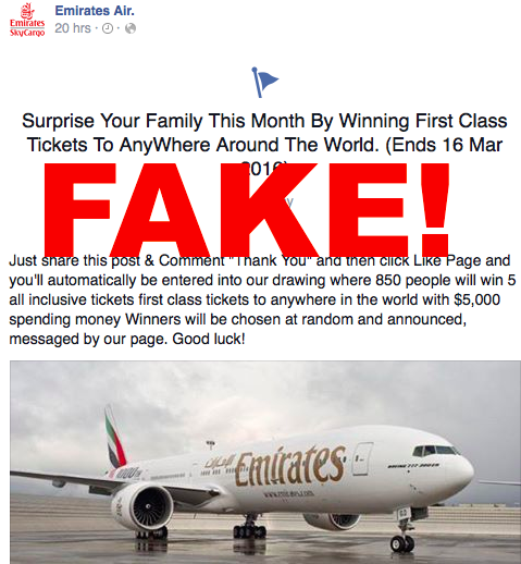 Beware fake emirates and other airlines facebook pages are back beware fake emirates and other airlines facebook pages are back loyaltylobby sciox Choice Image